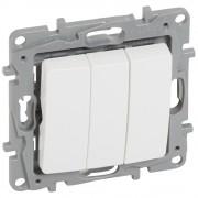 Выключатель трехклавишный Etika Plus 10 A 250 В~ белый, артикул 672213