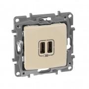 Зарядное устройство с двумя USBразьемами 240В/5В 2400мА Etika слоновая кость, артикул 672394
