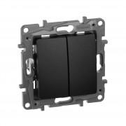 Выключатель/переключатель двухклавишный Etika Plus 10 A 250 В~ антрацит, артикул 672612