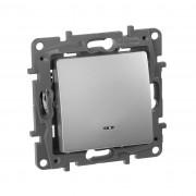 Выключатель одноклавишный с подсветкой/индикацией автоматические клеммы  Etika 10 AX 250 В~ алюминий, артикул 672403