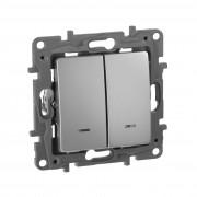 Выключатель двухклавишный с подсветкой/индикацией автоматические клеммы Etika 10 AX 250 В~ алюминий, артикул 672404