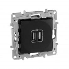 Зарядное устройство с двумя USBразьемами 240В/5В 2400мА Etika антрацит, артикул 672694
