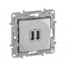 Зарядное устройство с двумя USBразьемами 240В/5В 2400мА Etika алюминий, артикул 672494