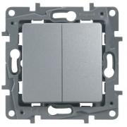 Выключатель двухклавишный автоматические клеммы Etika 10 AX 250 В~ алюминий, артикул 672402