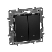 Выключатель двухклавишный с подсветкой/индикацией автоматические клеммы Etika 10 AX 250 В~ антрацит, артикул 672604