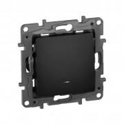 Выключатель одноклавишный с подсветкой/индикацией автоматические клеммы Etika 10 AX 250 В~ антрацит, артикул 672603