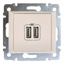 Зарядное устройство с 2мя коннекторами USB Valena 1500 мА слоновая кость, артикул 774170