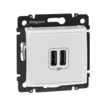 Зарядное устройство с 2мя коннекторами USB Valena 1500 мА белый, артикул 770470