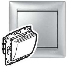 Выключатель для гостиничных номеров с выдержкой времени Valena алюминий, артикул 770235