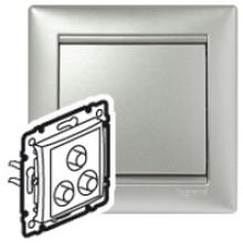 Тройная розетка RCA Valena алюминий, артикул 770284