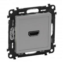 Valena LIFE.Розетка для аудио/видео устройств HDMI Тип А.С лицевой панелью.Алюминий, артикул 753371