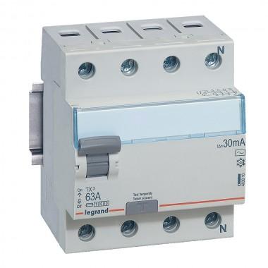Выключатель дифференциального тока TX³, 4П, 63 А, тип AC, 30 мА, 4 модуля, артикул 403010  Legrand