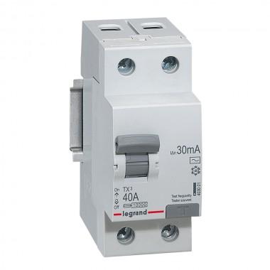 Выключатель дифференциального тока TX³, 2П, 63 А, тип AC, 300 мА, 2 модуля, артикул 403040  Legrand
