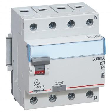 Выключатель дифференциального тока TX³, 4П, 63 А, тип AC, 300 мА, 4 модуля, артикул 403044  Legrand