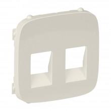 Valena ALLURE.Лицевая панель для аудиорозетки с пружинными зажимами двойной.Слоновая кость, артикул 755376