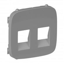 Valena ALLURE.Лицевая панель для аудиорозетки с пружинными зажимами двойной.Алюминий, артикул 755377