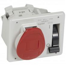 Встраиваемая розетка с блокировкой-выключателем иуменьшенным фланцем - P17 Tempra Pro - IP 44 - 380/415 В~ - 16 A - 3К+З, артикул 057301