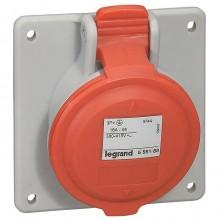 Встраиваемая наклонная розетка - P17 Tempra Pro - IP 44 - 380/415 В~ - 16 A - 3К+Н+З