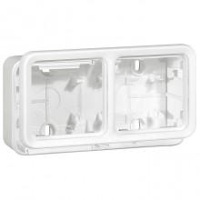 Plexo55 Artic Коробка 2-ная гориз. для накладного монтажа, белая