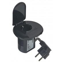 Настольный кабельный органайзер, розетка 2К+З Чёрный, артикул:054081