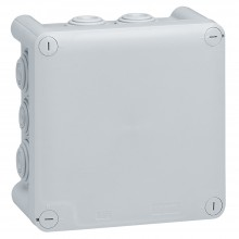 Коробка квадратная - 130x130x74 - Программа Plexo - IP 55 - IK 07 - серый - 10 кабельных вводов - 650 °C, Артикул:092032